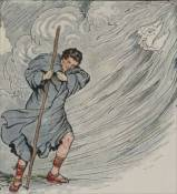 illustration for the wind forcing a man to take off his coat